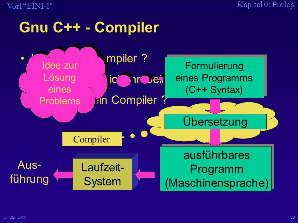 Kapitel 0: Prolog Vorl EINI-I 15.Okt. 200023 Was ist ein Compiler .