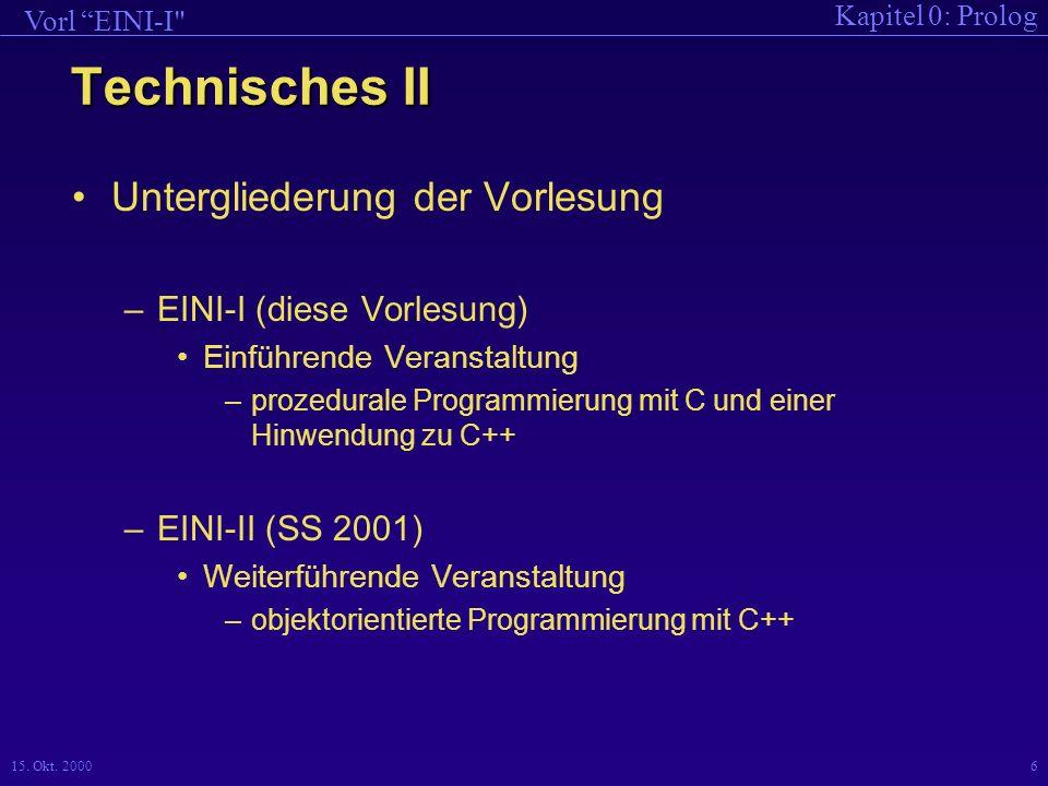 Kapitel 0: Prolog Vorl EINI-I