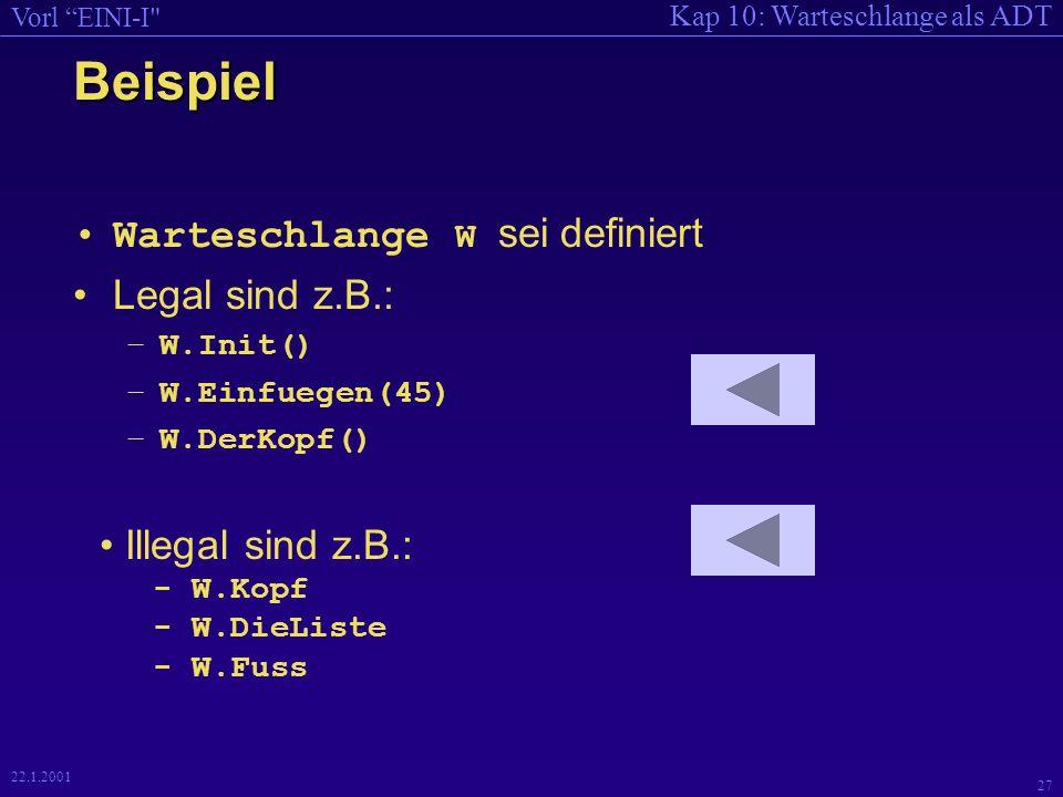 Kap 10: Warteschlange als ADT Vorl EINI-I 27 22.1.2001 Beispiel Warteschlange W sei definiert Legal sind z.B.: –W.Init() –W.Einfuegen(45) –W.DerKopf() Illegal sind z.B.: - W.Kopf - W.DieListe - W.Fuss