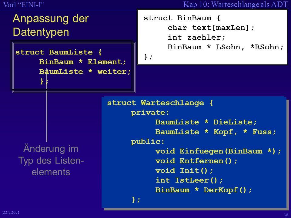 Kap 10: Warteschlange als ADT Vorl EINI-I 38 22.1.2001 Änderung im Typ des Listen- elements Anpassung der Datentypen struct BinBaum { char text[maxLen]; int zaehler; BinBaum * LSohn, *RSohn; }; struct BaumListe { BinBaum * Element; BaumListe * weiter; }; struct Warteschlange { private: BaumListe * DieListe; BaumListe * Kopf, * Fuss; public: void Einfuegen(BinBaum *); void Entfernen(); void Init(); int IstLeer(); BinBaum * DerKopf(); };