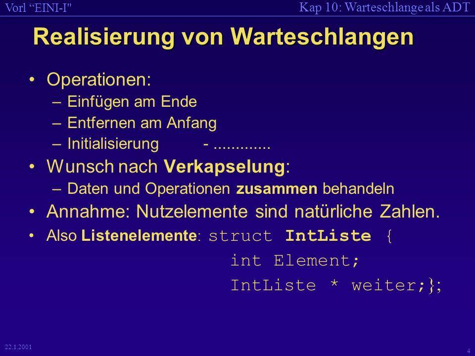 Kap 10: Warteschlange als ADT Vorl EINI-I 4 22.1.2001 Realisierung von Warteschlangen Operationen: –Einfügen am Ende –Entfernen am Anfang –Initialisierung -.............
