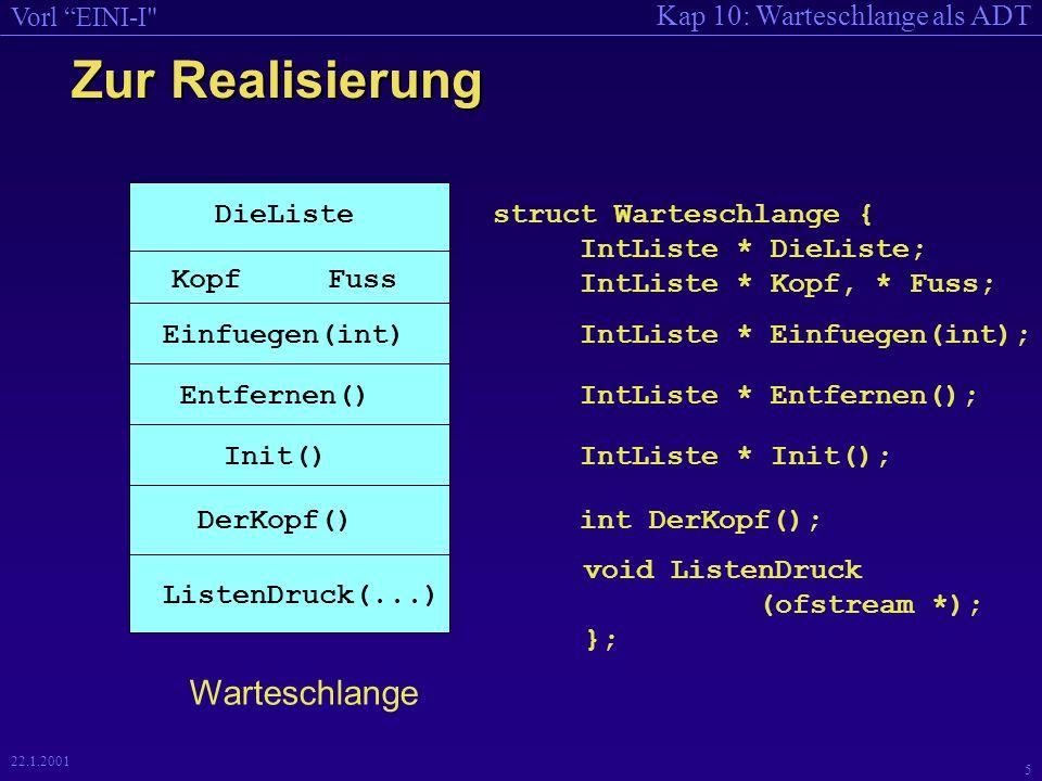 Kap 10: Warteschlange als ADT Vorl EINI-I 5 22.1.2001 Zur Realisierung DieListe KopfFuss struct Warteschlange { IntListe * DieListe; IntListe * Kopf, * Fuss; Einfuegen(int)IntListe * Einfuegen(int); Entfernen()IntListe * Entfernen(); Init()IntListe * Init(); DerKopf()int DerKopf(); ListenDruck(...) Warteschlange void ListenDruck (ofstream *); };