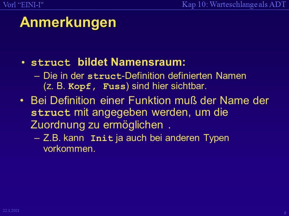 Kap 10: Warteschlange als ADT Vorl EINI-I 9 22.1.2001 Anmerkungen struct bildet Namensraum: –Die in der struct -Definition definierten Namen (z.