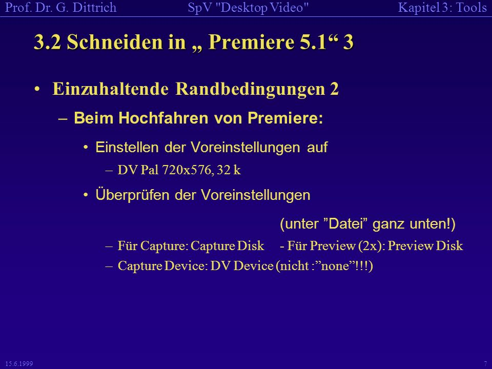 Kapitel 3: ToolsSpV Desktop Video Prof. Dr. G.