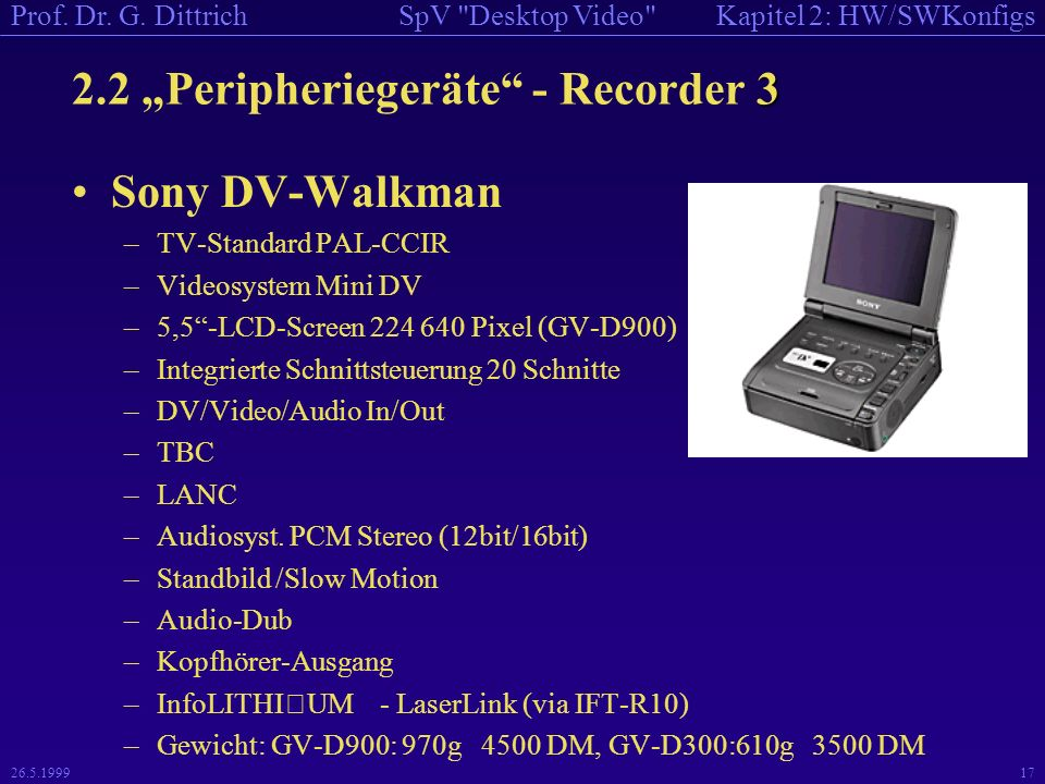 Kapitel 2: HW/SWKonfigsSpV Desktop Video Prof. Dr.