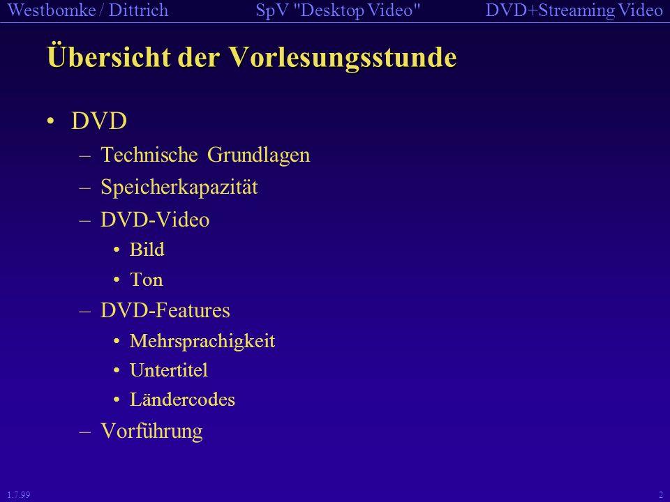 DVD+Streaming VideoSpV Desktop Video Westbomke / Dittrich 1.7.992 Übersicht der Vorlesungsstunde DVD –Technische Grundlagen –Speicherkapazität –DVD-Video Bild Ton –DVD-Features Mehrsprachigkeit Untertitel Ländercodes –Vorführung