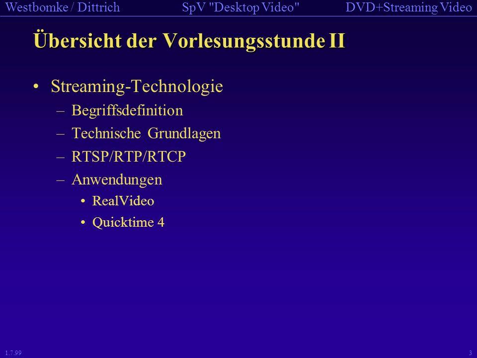 DVD+Streaming VideoSpV Desktop Video Westbomke / Dittrich 1.7.993 Übersicht der Vorlesungsstunde II Streaming-Technologie –Begriffsdefinition –Technische Grundlagen –RTSP/RTP/RTCP –Anwendungen RealVideo Quicktime 4