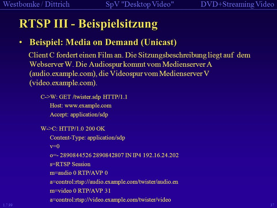 DVD+Streaming VideoSpV Desktop Video Westbomke / Dittrich 1.7.9936 RTSP - Verwendete Nachrichten method direction object requirement DESCRIBE C->S P,S recommended ANNOUNCE C->S, S->C P,S optional GET_PARAMETER C->S, S->C P,S optional OPTIONS C->S, S->C P,S required (S->C: optional) PAUSE C->S P,S recommended PLAY C->S P,S required RECORD C->S P,S optional REDIRECT S->C P,S optional SETUP C->S S required SET_PARAMETER C->S, S->C P,S optional TEARDOWN C->S P,S required