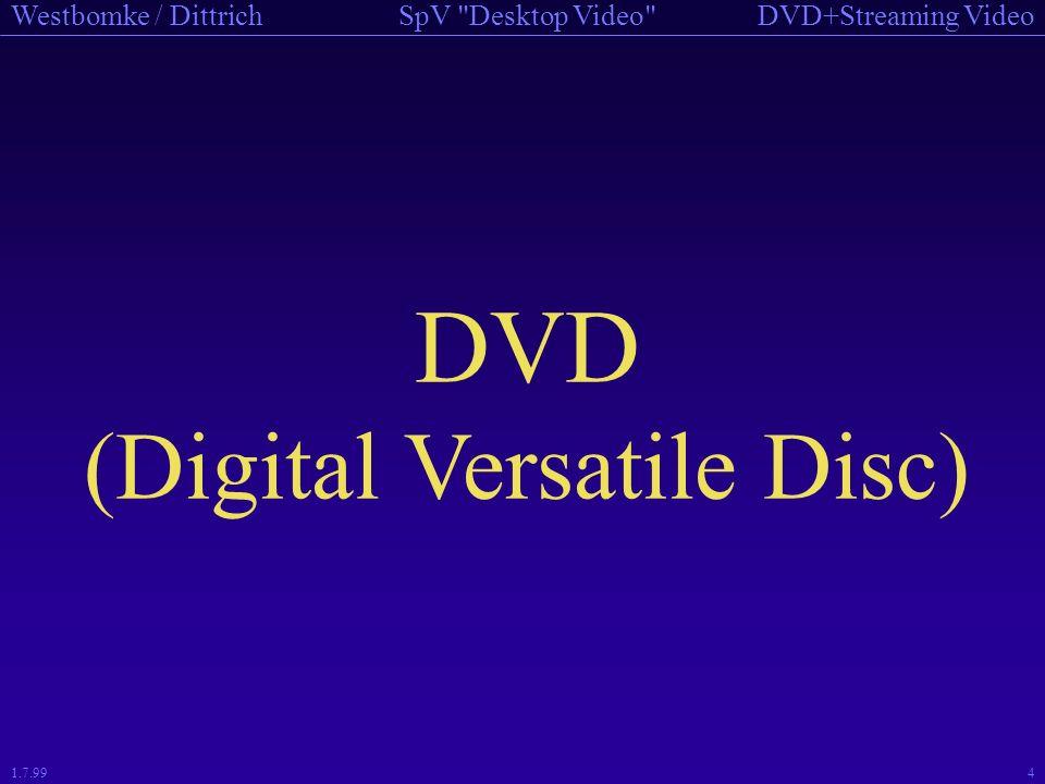 DVD+Streaming VideoSpV Desktop Video Westbomke / Dittrich 1.7.9944 RTP Control Protokoll (RTCP) Periodisches Versenden von Kontrollpaketen an alle Teilnehmer einer RTP-Sitzung Rückmeldung der erzielten Dienstqualität (QoS) Identifikation der Sitzungteilnehmer (CNAME) Sitzungskontrolle Schätzung der Paketumlaufzeit und Datensynchronisation