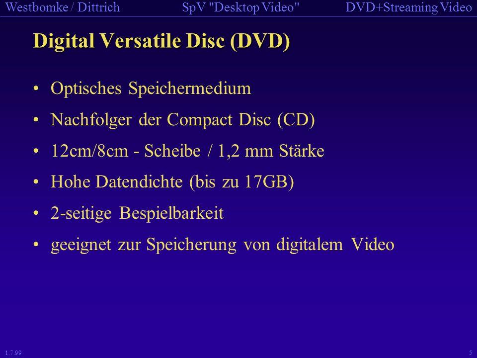 DVD+Streaming VideoSpV Desktop Video Westbomke / Dittrich 1.7.995 Digital Versatile Disc (DVD) Optisches Speichermedium Nachfolger der Compact Disc (CD) 12cm/8cm - Scheibe / 1,2 mm Stärke Hohe Datendichte (bis zu 17GB) 2-seitige Bespielbarkeit geeignet zur Speicherung von digitalem Video