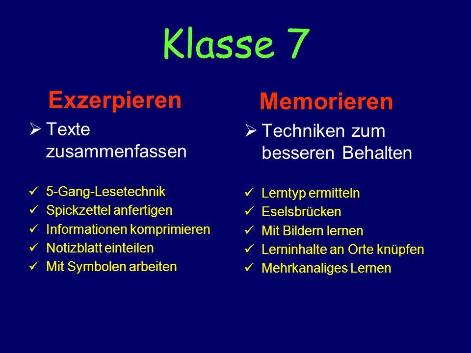 Klasse 7 Exzerpieren Texte zusammenfassen 5-Gang-Lesetechnik Spickzettel anfertigen Informationen komprimieren Notizblatt einteilen Mit Symbolen arbei