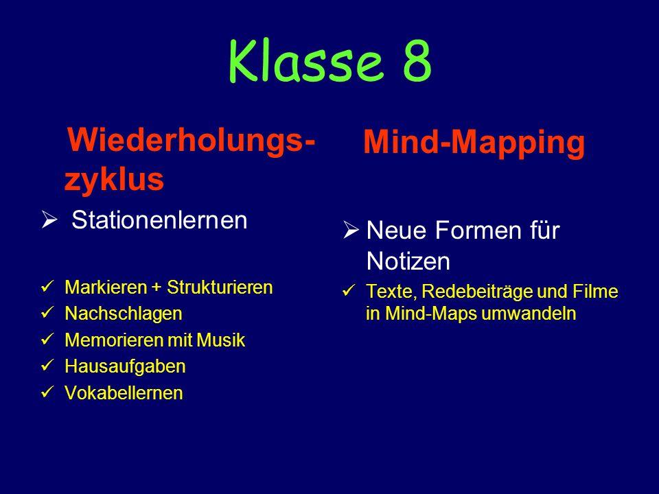 Klasse 8 Wiederholungs- zyklus Stationenlernen Markieren + Strukturieren Nachschlagen Memorieren mit Musik Hausaufgaben Vokabellernen Mind-Mapping Neu