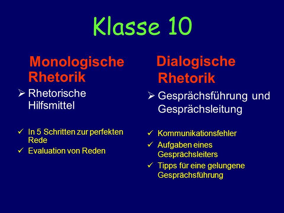 Klasse 10 Monologische Rhetorik Rhetorische Hilfsmittel In 5 Schritten zur perfekten Rede Evaluation von Reden Dialogische Rhetorik Gesprächsführung u