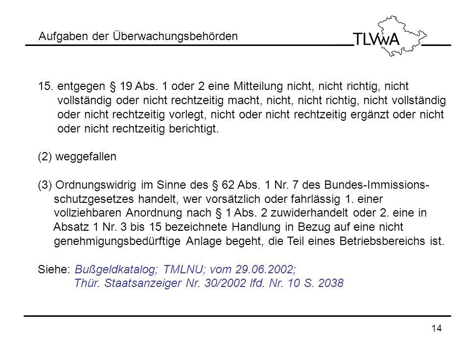 14 Aufgaben der Überwachungsbehörden 15. entgegen § 19 Abs. 1 oder 2 eine Mitteilung nicht, nicht richtig, nicht vollständig oder nicht rechtzeitig ma
