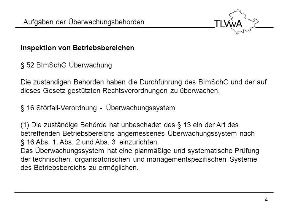 4 Aufgaben der Überwachungsbehörden Inspektion von Betriebsbereichen § 52 BImSchG Überwachung Die zuständigen Behörden haben die Durchführung des BImS