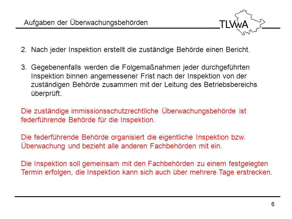 6 Aufgaben der Überwachungsbehörden 2. Nach jeder Inspektion erstellt die zuständige Behörde einen Bericht. 3. Gegebenenfalls werden die Folgemaßnahme