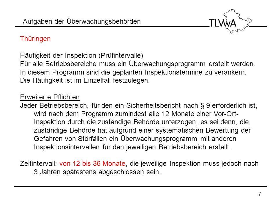 7 Aufgaben der Überwachungsbehörden Thüringen Häufigkeit der Inspektion (Prüfintervalle) Für alle Betriebsbereiche muss ein Überwachungsprogramm erste