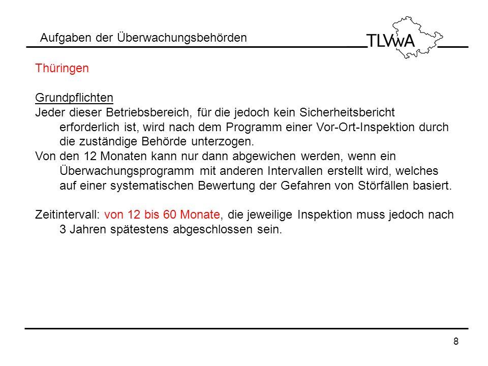 8 Aufgaben der Überwachungsbehörden Thüringen Grundpflichten Jeder dieser Betriebsbereich, für die jedoch kein Sicherheitsbericht erforderlich ist, wi
