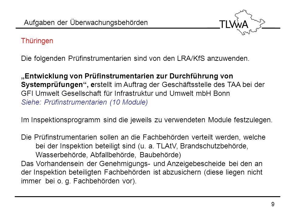 9 Aufgaben der Überwachungsbehörden Thüringen Die folgenden Prüfinstrumentarien sind von den LRA/KfS anzuwenden. Entwicklung von Prüfinstrumentarien z