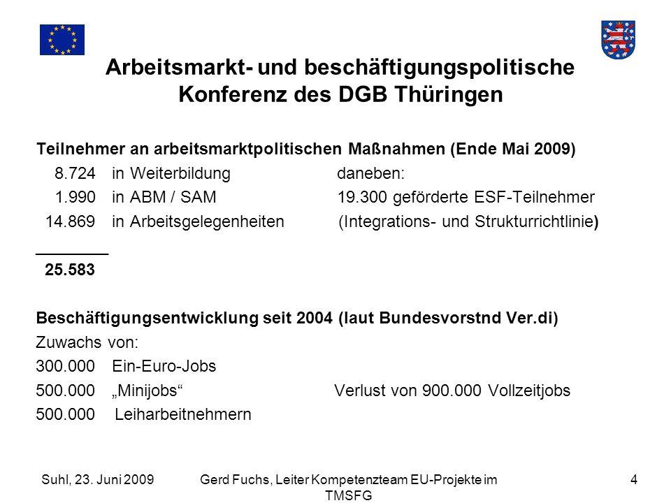 Suhl, 23. Juni 2009Gerd Fuchs, Leiter Kompetenzteam EU-Projekte im TMSFG 4 Arbeitsmarkt- und beschäftigungspolitische Konferenz des DGB Thüringen Teil