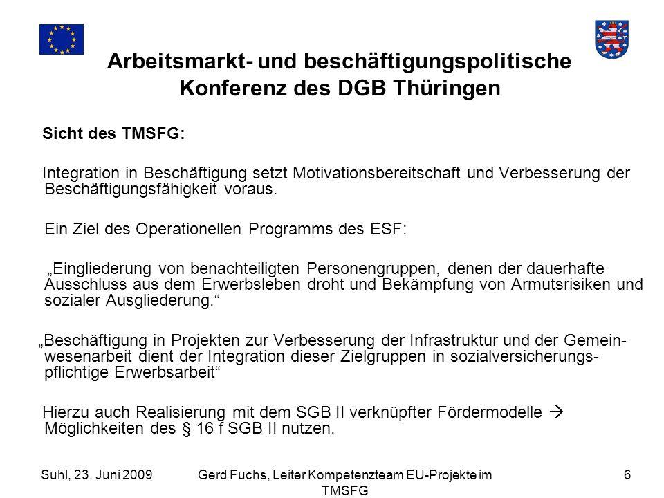 Suhl, 23. Juni 2009Gerd Fuchs, Leiter Kompetenzteam EU-Projekte im TMSFG 6 Arbeitsmarkt- und beschäftigungspolitische Konferenz des DGB Thüringen Sich