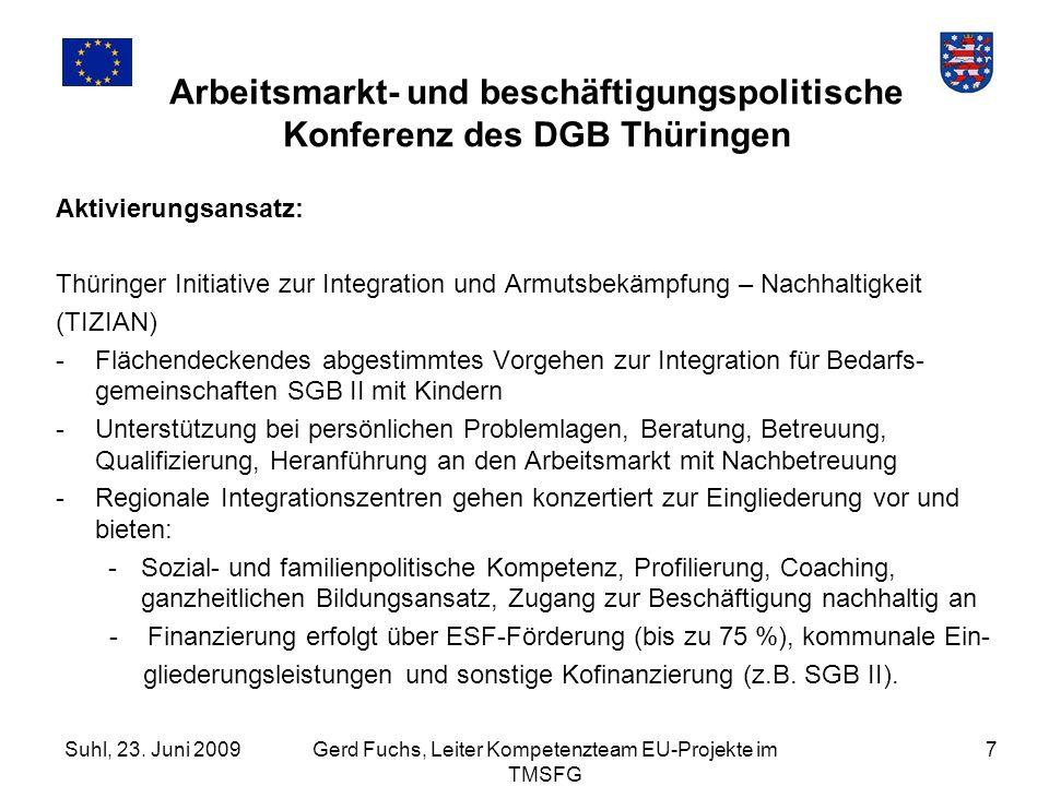 Suhl, 23. Juni 2009Gerd Fuchs, Leiter Kompetenzteam EU-Projekte im TMSFG 7 Arbeitsmarkt- und beschäftigungspolitische Konferenz des DGB Thüringen Akti