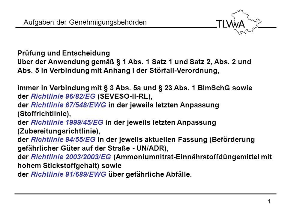 1 Aufgaben der Genehmigungsbehörden Prüfung und Entscheidung über der Anwendung gemäß § 1 Abs. 1 Satz 1 und Satz 2, Abs. 2 und Abs. 5 in Verbindung mi