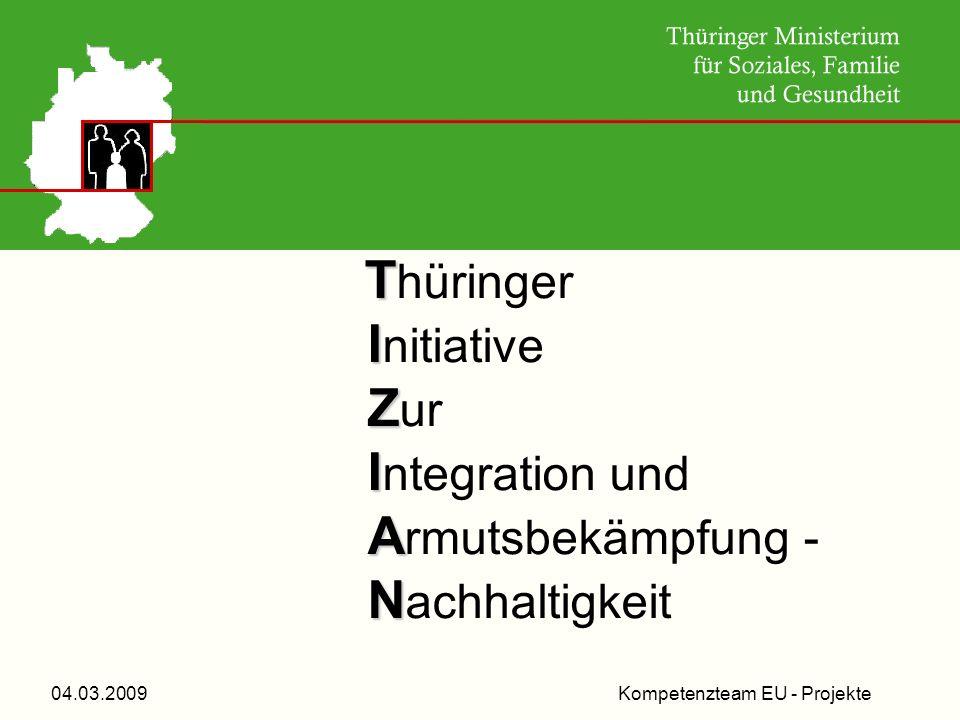Kompetenzteam EU - Projekte04.03.2009 Efms sms T T hüringer I I nitiative Z Z ur I I ntegration und A A rmutsbekämpfung - N N achhaltigkeit
