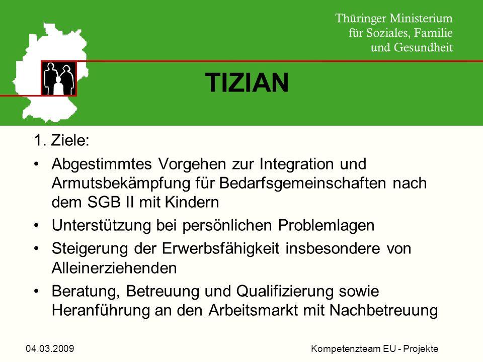 Kompetenzteam EU - Projekte04.03.2009 TIZIAN 1. Ziele: Abgestimmtes Vorgehen zur Integration und Armutsbekämpfung für Bedarfsgemeinschaften nach dem S