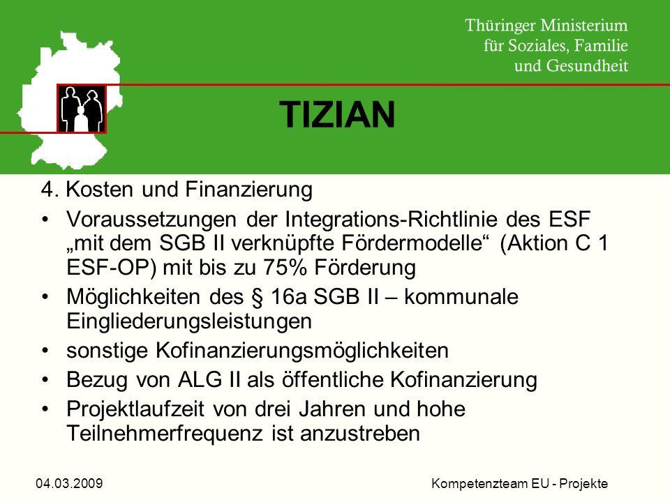 Kompetenzteam EU - Projekte04.03.2009 TIZIAN 4. Kosten und Finanzierung Voraussetzungen der Integrations-Richtlinie des ESF mit dem SGB II verknüpfte