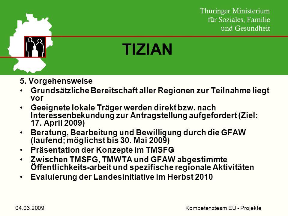 Kompetenzteam EU - Projekte04.03.2009 TIZIAN 5. Vorgehensweise Grundsätzliche Bereitschaft aller Regionen zur Teilnahme liegt vor Geeignete lokale Trä