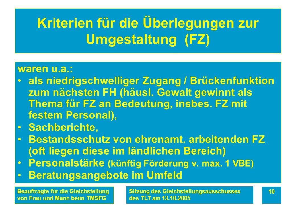 Beauftragte für die Gleichstellung von Frau und Mann beim TMSFG Sitzung des Gleichstellungsausschusses des TLT am 13.10.2005 10 Kriterien für die Überlegungen zur Umgestaltung (FZ) waren u.a.: als niedrigschwelliger Zugang / Brückenfunktion zum nächsten FH (häusl.