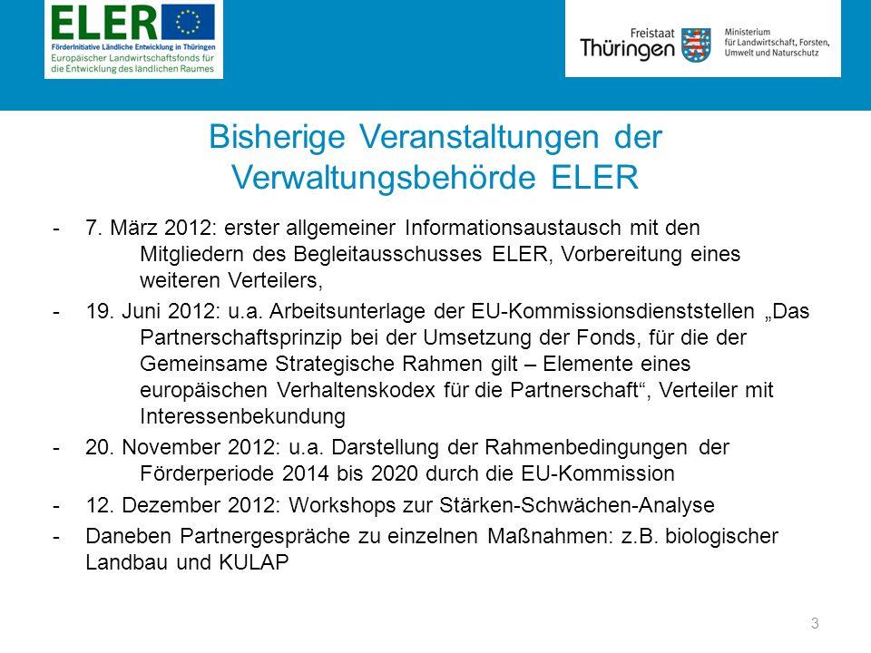 Rubrik Bisherige Veranstaltungen der Verwaltungsbehörde ELER -7. März 2012: erster allgemeiner Informationsaustausch mit den Mitgliedern des Begleitau
