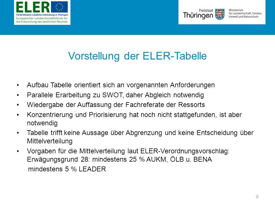 Rubrik Vorstellung der ELER-Tabelle Aufbau Tabelle orientiert sich an vorgenannten Anforderungen Parallele Erarbeitung zu SWOT, daher Abgleich notwend