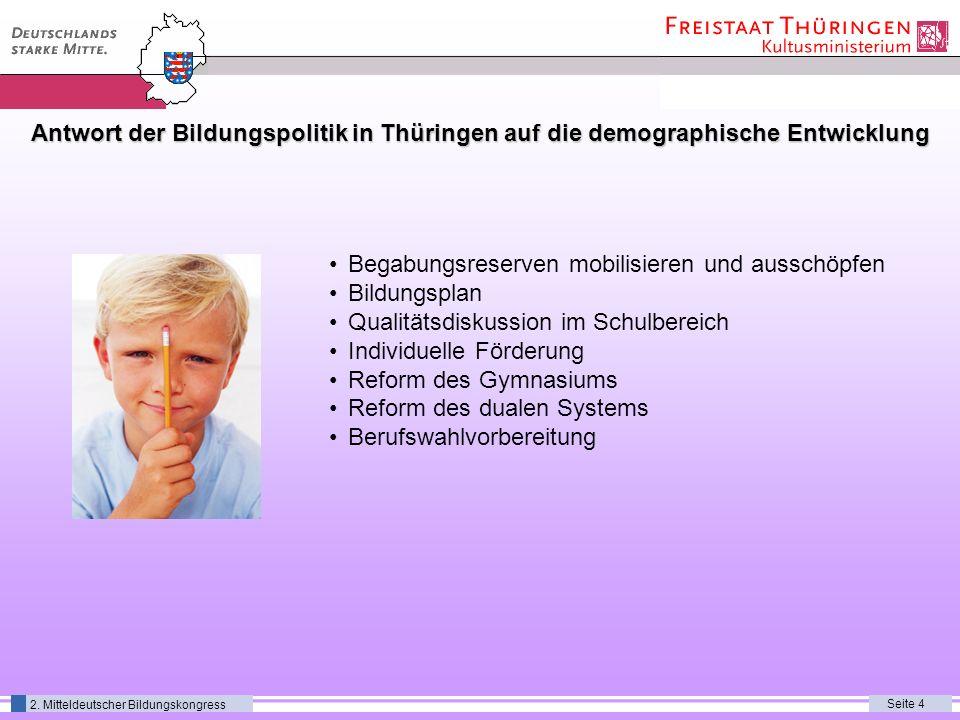 Seite 4 2. Mitteldeutscher Bildungskongress Antwort der Bildungspolitik in Thüringen auf die demographische Entwicklung Begabungsreserven mobilisieren