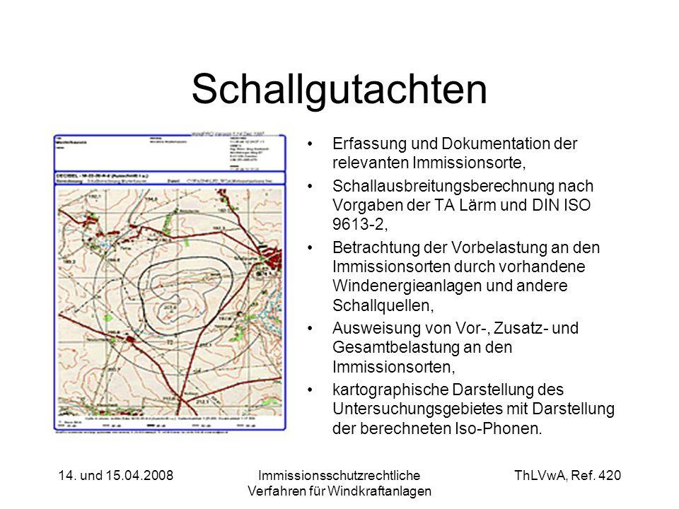 ThLVwA, Ref. 420 14. und 15.04.2008Immissionsschutzrechtliche Verfahren für Windkraftanlagen Schallgutachten Erfassung und Dokumentation der relevante