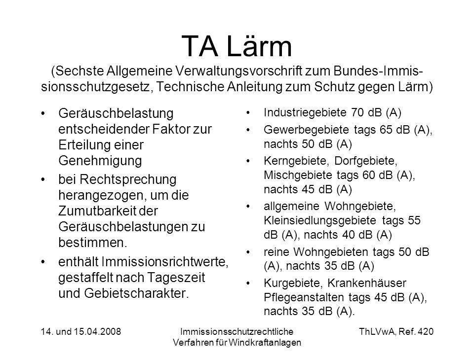 ThLVwA, Ref. 420 14. und 15.04.2008Immissionsschutzrechtliche Verfahren für Windkraftanlagen TA Lärm (Sechste Allgemeine Verwaltungsvorschrift zum Bun