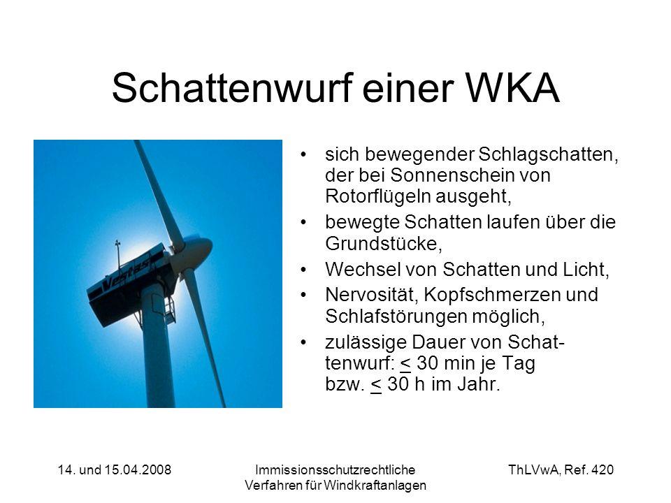ThLVwA, Ref. 420 14. und 15.04.2008Immissionsschutzrechtliche Verfahren für Windkraftanlagen Schattenwurf einer WKA sich bewegender Schlagschatten, de