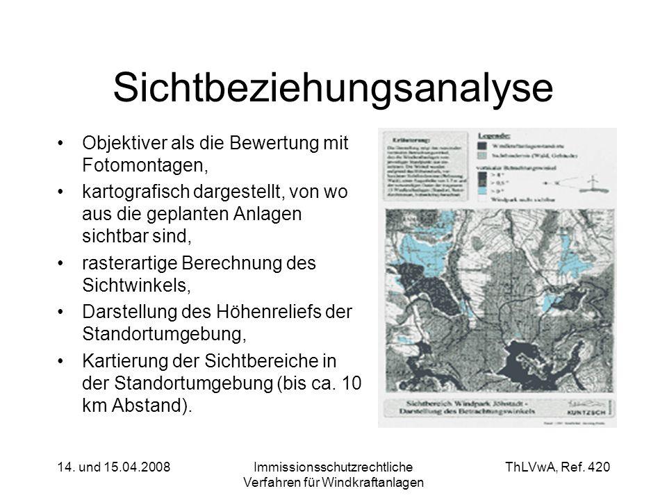 ThLVwA, Ref. 420 14. und 15.04.2008Immissionsschutzrechtliche Verfahren für Windkraftanlagen Sichtbeziehungsanalyse Objektiver als die Bewertung mit F