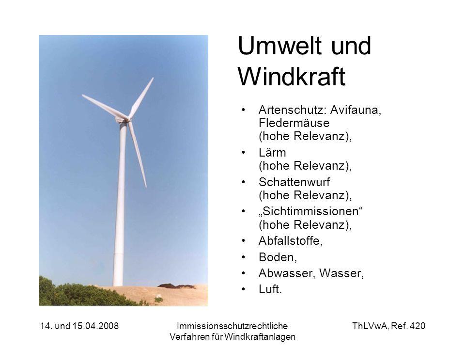 ThLVwA, Ref. 420 14. und 15.04.2008Immissionsschutzrechtliche Verfahren für Windkraftanlagen Umwelt und Windkraft Artenschutz: Avifauna, Fledermäuse (