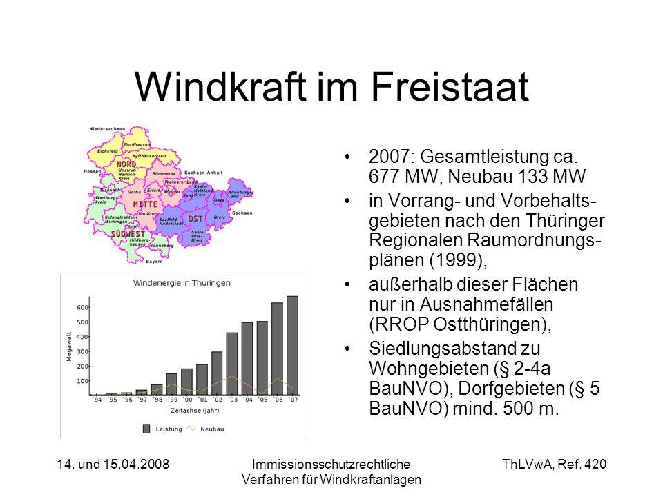 ThLVwA, Ref. 420 14. und 15.04.2008Immissionsschutzrechtliche Verfahren für Windkraftanlagen Windkraft im Freistaat 2007: Gesamtleistung ca. 677 MW, N