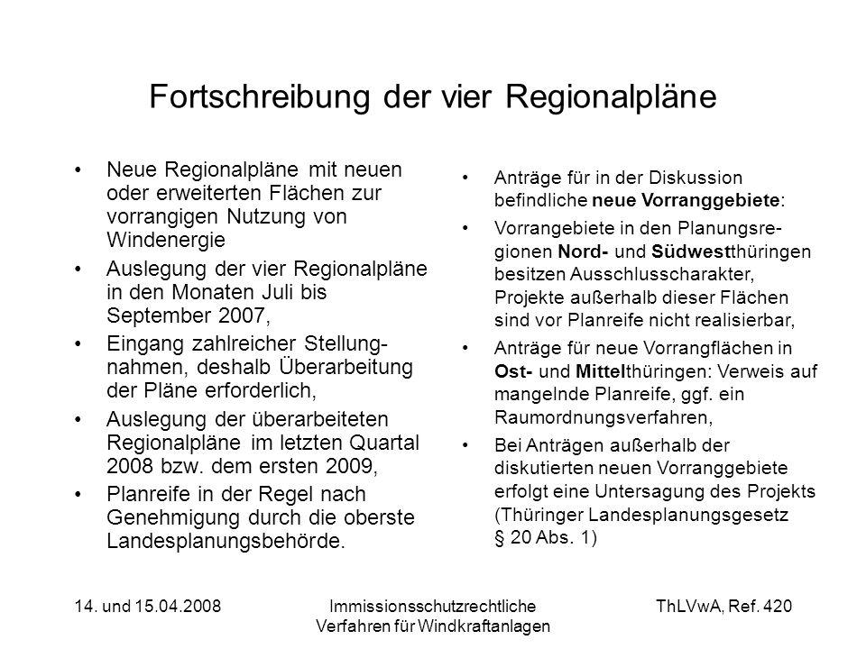 ThLVwA, Ref. 420 14. und 15.04.2008Immissionsschutzrechtliche Verfahren für Windkraftanlagen Fortschreibung der vier Regionalpläne Neue Regionalpläne