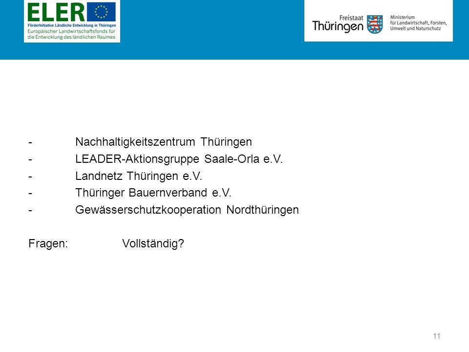 Rubrik - Nachhaltigkeitszentrum Thüringen - LEADER-Aktionsgruppe Saale-Orla e.V. -Landnetz Thüringen e.V. -Thüringer Bauernverband e.V. - Gewässerschu