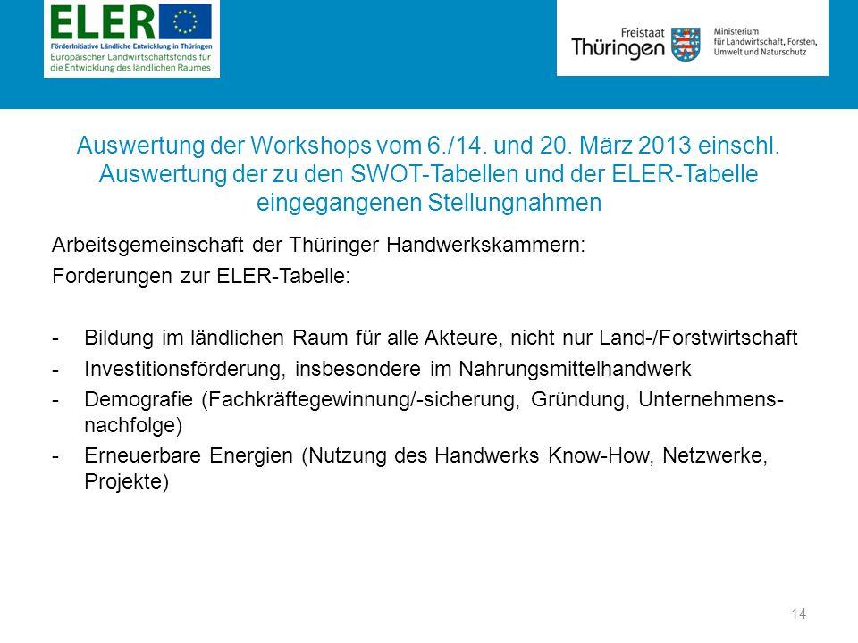 Rubrik Auswertung der Workshops vom 6./14. und 20. März 2013 einschl. Auswertung der zu den SWOT-Tabellen und der ELER-Tabelle eingegangenen Stellungn