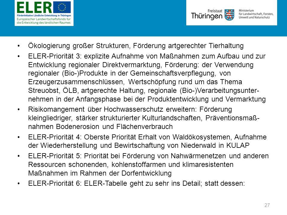 Rubrik Ökologierung großer Strukturen, Förderung artgerechter Tierhaltung ELER-Priorität 3: explizite Aufnahme von Maßnahmen zum Aufbau und zur Entwic