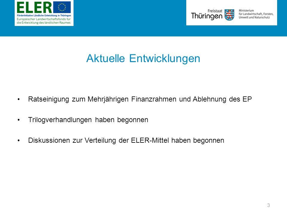 Rubrik Trilogverhandlungen zur Kofinanzierung ELER – Beteiligung des Fonds (Kofinanzierungssätze) Europäische Kommission Europäisches Parlament Agrarrat 85 % in Konvergenzgebieten 50 % in nicht Konvergenzgebieten 50 % für AUKM 80 % für LEADER, Art.