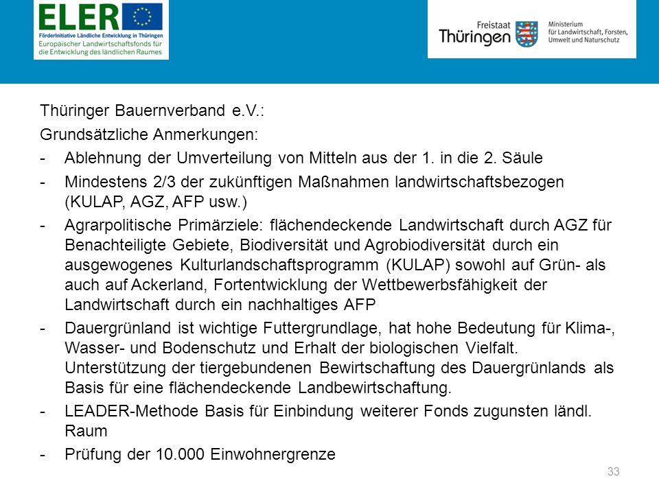 Rubrik Thüringer Bauernverband e.V.: Grundsätzliche Anmerkungen: -Ablehnung der Umverteilung von Mitteln aus der 1. in die 2. Säule -Mindestens 2/3 de