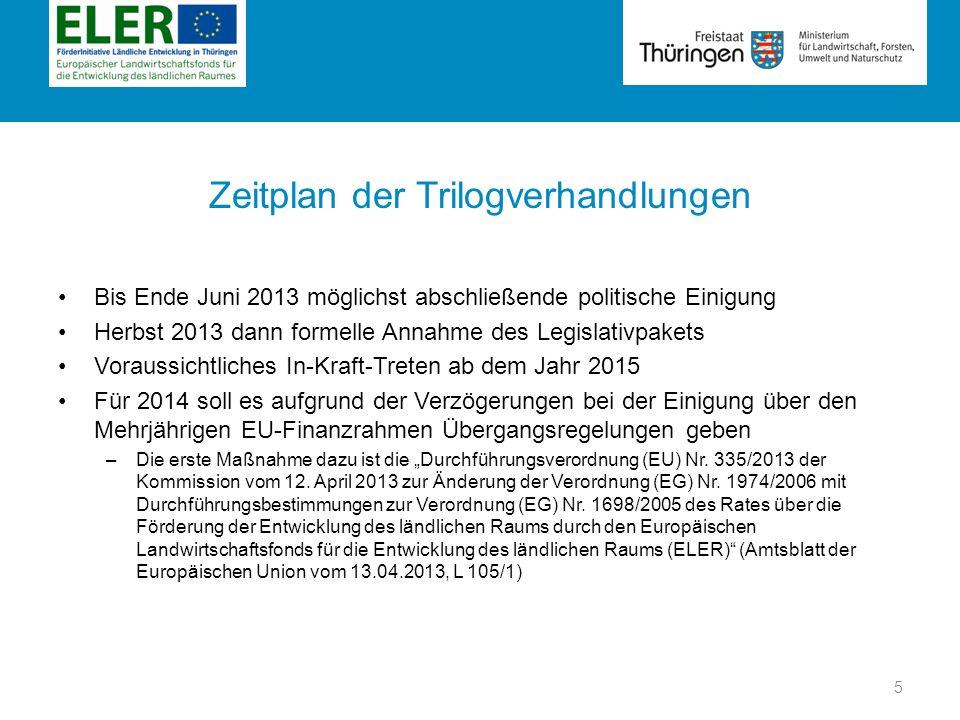 Rubrik Zeitplan der Trilogverhandlungen Bis Ende Juni 2013 möglichst abschließende politische Einigung Herbst 2013 dann formelle Annahme des Legislati