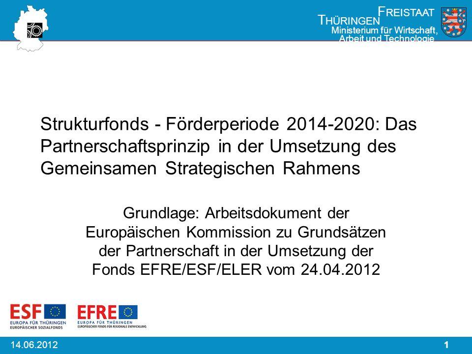 114.06.2012 F REISTAAT T HÜRINGEN Ministerium für Wirtschaft, Arbeit und Technologie Strukturfonds - Förderperiode 2014-2020: Das Partnerschaftsprinzi