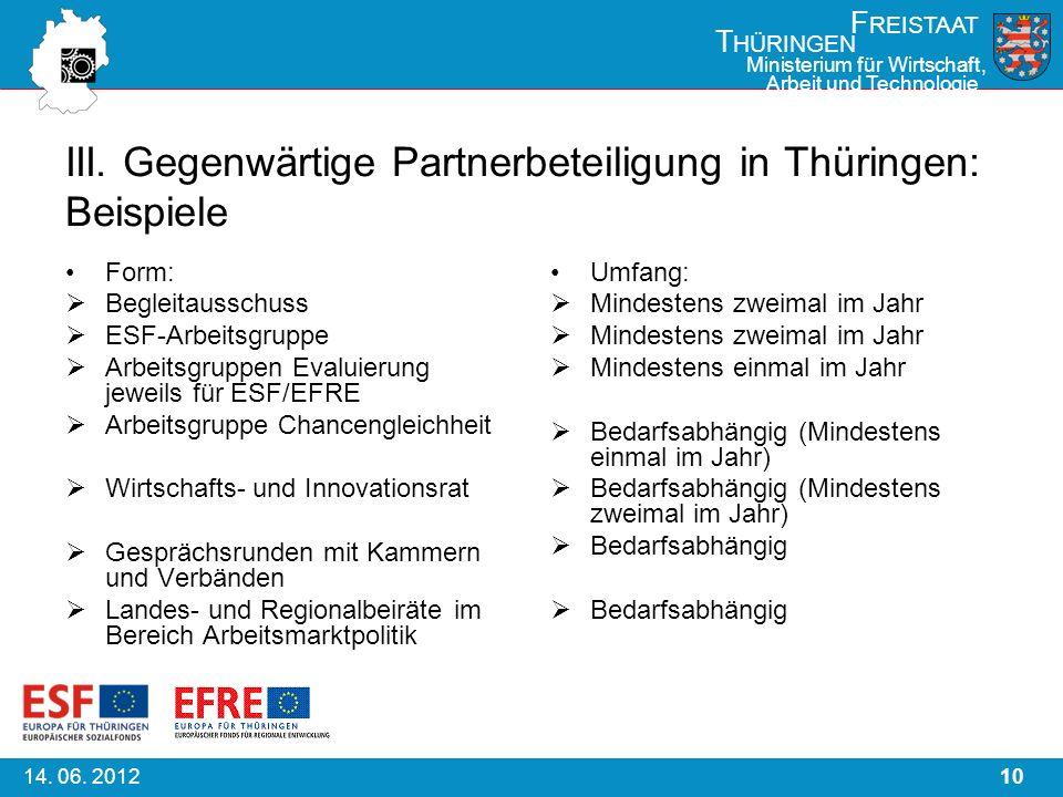 1014. 06. 2012 F REISTAAT T HÜRINGEN Ministerium für Wirtschaft, Arbeit und Technologie III. Gegenwärtige Partnerbeteiligung in Thüringen: Beispiele F